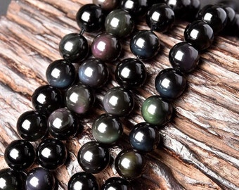 Natural Obsidian, Natural Stone Beads, Obsidian Beads, Round Beads, Semi Precious, Gemstone Beads, 4 6 8 10 12 14 16 18 mm, (CB008)