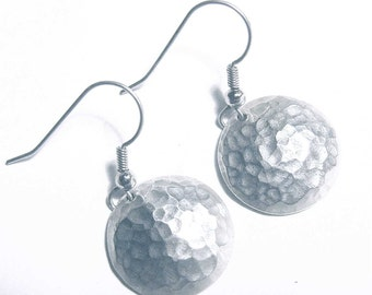 Hand hammered Silver Dome Earrings