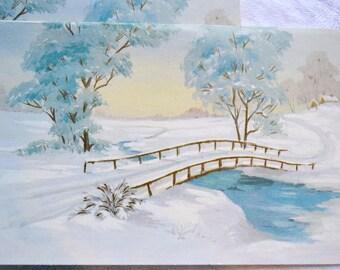 Vintage Christmas Card - Snowy Winter Bridge and Turquoise Trees - Unused