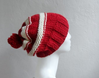 Red Slouchy Hat, Striped Hat with Pompoms in Red Cream, Gift under 25, Winter Accessories