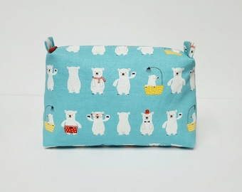 bear makeup bag, travel pouch, cosmetic bag