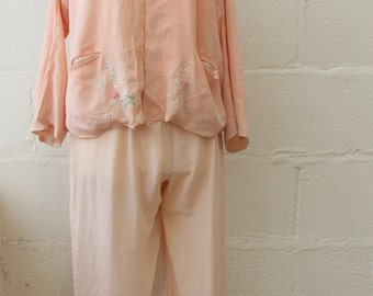 Vintage 1920's Light Pink Lounging Set // Silk Floral Embroidery