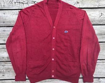 LACOSTE Blue Label Vintage 80s Garnet Knit Button Front Cardigan Sweater Men's L