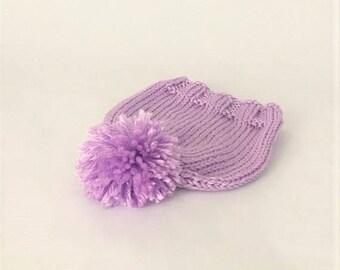 Baby Pom Beanie Hand Knit, Spring Baby Hat - Purple (Newborn)