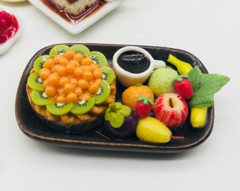 Miniature Fruit Pie with Coffee and decorate many fruit,Miniature Sweet,Dollhouse cake