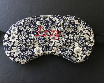 Personalised eye mask, sleep mask, filled with/out lavender, travel mask, initials embroidered