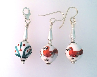Birder Earrings And Zipper Pull Rare Hand Painted Antique Chinese Porcelain
