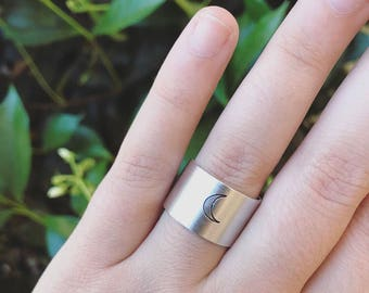 Moon Ring - Moon Child Handstamped Ring
