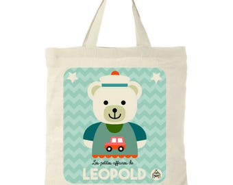 """Tote Bag personalized kids """"Bear"""". Girl or boy name + choose pink or blue colors"""