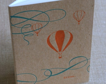 """Notebook, Letterpress on Chipboard, """"Dream"""" with balloons"""