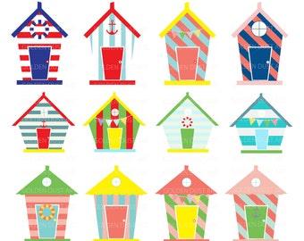 Beach Houses Digital Clip Art, Beach Houses Clip Art, Beach House Clip Art, Personal and Commercial Use