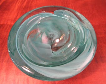 Blue/green glass bowl by Kosta Boda