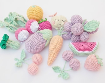 Vegetables and fruits set (12 pcs),Birthday Present,Pastel colors Toys, eco-friendly toys,Summer Fun, nursery decor, baby shower gift.