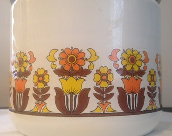 Vintage Enamel Tin Canister - Orange & Yellow Daisy/Tulip Pattern - Orange Lid