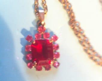 Ruby stone pendant etsy goldtone faux ruby stone pendant with key detail with chain boho vintage retro aloadofball Images