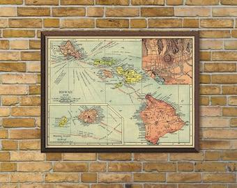 Hawaii map - Old map of Hawaii reproduction