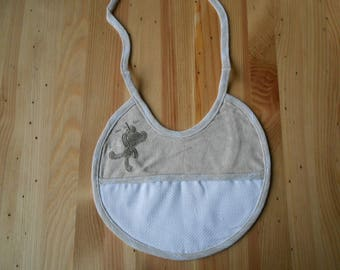 bib 0/3 months embroidery linen and white