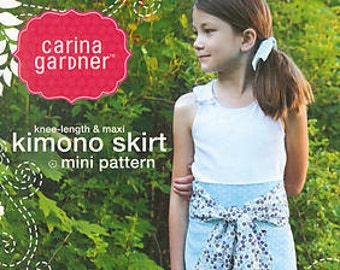 Last One - SALE knee-length & maxi Kimono Skirt mini pattern by Carina Gardner