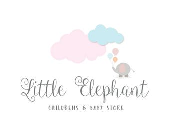 Pre-made Logo Pastel Baby Logo Elephant Balloons Clouds Stars Logo - Newborn Photography Logo - Childrens Boutique Logo Kids Logo Baby Shop