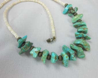 ESTATE Vintage Navajo Shell Heishi Turquoise Nugget Necklace 16""