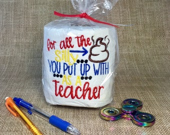 Funny teacher gift, gag gift toilet paper, embroidered toilet paper, adult gift, humorous Christmas gift for teacher
