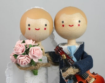 Custom Wedding Cake Topper with 1x INSTRUMENT / Music Theme
