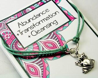 Positive Intention Bracelet - Frog - Charm Bracelet - Abundance - Transformation- Cleansing - Friendship Bracelet - INT012