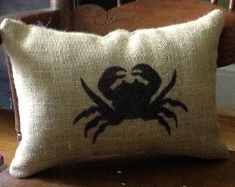 Crab Burlap Pillow, Burlap Pillow, Beach Decor, Crab Pillow, Throw Pillow, Beach Pillow, Geift For Her, Gift For Him