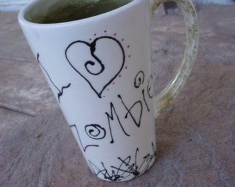 Zombie mug I love zombies personalized or not kiln fired pottery mug