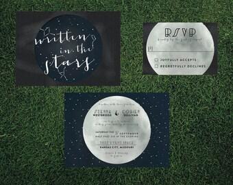 Constellation Wedding Invitation // DOWN PAYMENT towards Printed Sets // Modern Wedding, Star Gazers Wedding, Whimsical Wedding