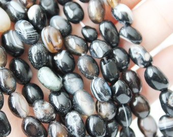 """Brown and Black Agate Beads- Small to Large Pebble Stone - Full Strand 15"""""""