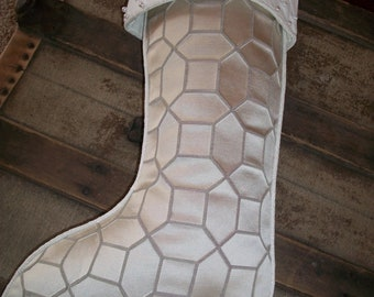 One (1) Amazing Silver Satin and White Pearl  Beaded Designer Christmas Stocking 2018 Collection