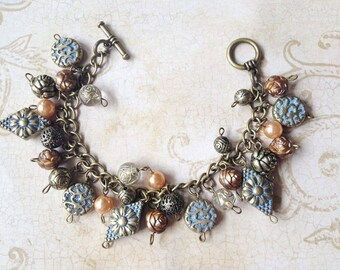 Vintage Inspired Antique Industrial Chic Charm Bracelet