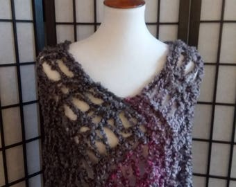 Handmade, Knitted, Lighthtweight, Chunky Poncho, Wrap, Sweater in gray, pink and purple.