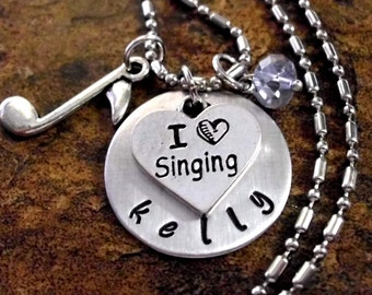 Personalized Music Necklace, Singing Necklace, Singer Jewelry, Singing Jewelry, Music Jewelry, Choir Jewelry, Love to Sing Jewelry