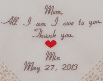 Mother of the Bride Wedding Gift Custom Embroidered Hankerchief Personalized by Napa Embroidery