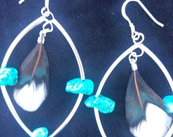 Feather earrings natural stone and feather boho earrings silver gift for her