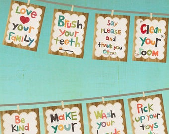 Good Manners 5x7 Wall Cards in English - Set of 8, Nursery Art, Nursery Wall Art, Kid's Art, Kid's Decor, Gender Neutral