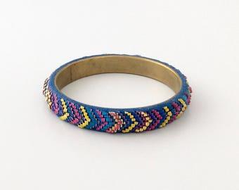 Bargello bracelet. Bargello polymer clay bracelet. Handmade bracelet.