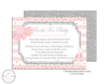 Baby Shower Book Request - Book Request Insert - Baby Shower Insert Card - Bring A Book - Tutu Baby Shower - Enclosure Card - Books For Baby