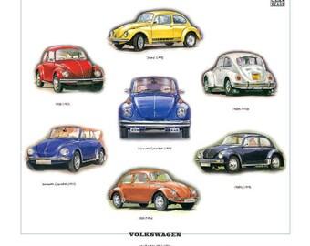 VOLKSWAGEN Fine Art Print (VW BEETLE Models 1967-80 Jeans 1302S)