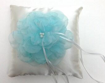 Wedding Ring Pillow - Mint Flower on Ivory Satin