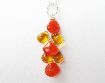 Orange Gold Teardrop Pendant, Sterling Silver Pendant, Orange Carnelian Faceted Drops, Honey Glass Teardrops, Large Ring Bail, Fall Color
