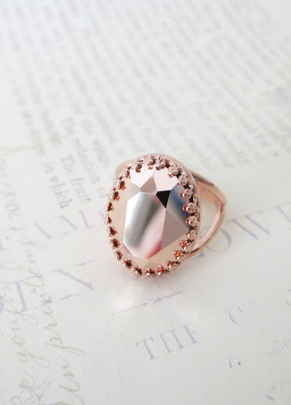 Rose Gold Swarovski Crystal Cocktail Ring - Pink Rose Gold Oval Crystal Rose Gold Adjustable Ring, simple, sparkly, chic, elegant, fashion