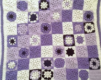 Purple Baby Blanket- Crocheted Granny Squares- Baby Shower- Made To Order- Purple, Lilac, Cream- Choose A SIze