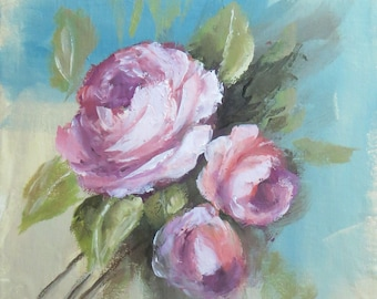 Floral Roses Painting; Original Flower Fine Art; Roses Wall Decor