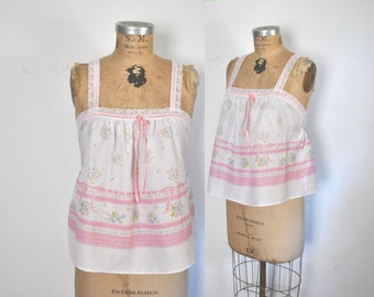 Pink Babydoll Top Lace Floral Tank Shirt / M-L
