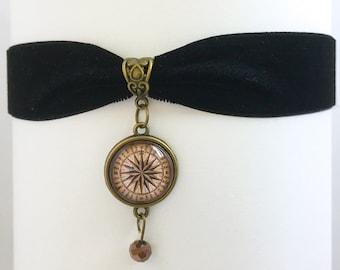 Antique Compass Pendant Black Velvet Ribbon Choker Necklace