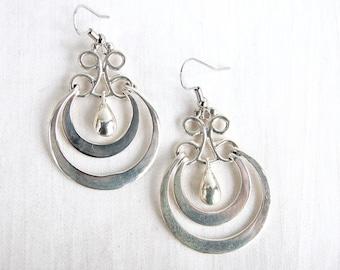 Crescent Hoop Dangle Earrings Mexican Sterling Silver Teardrop Dangles Vintage Everyday Jewelry Layered Hoops