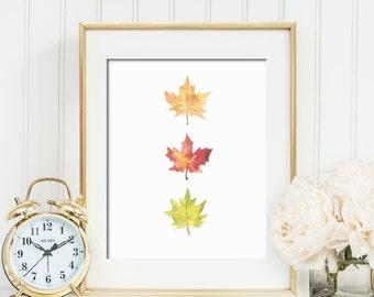 Watercolor Fall Maple Leaves Printable Wall Art Fall Decor Fall Leaf Print Thanksgiving Decor Fall Wall Art Yellow Orange Red Fall Leaves
